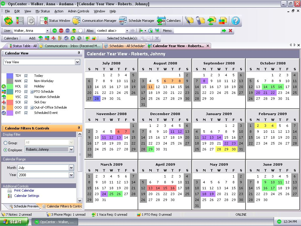 Calendar Year View : The business opscenter products audama software