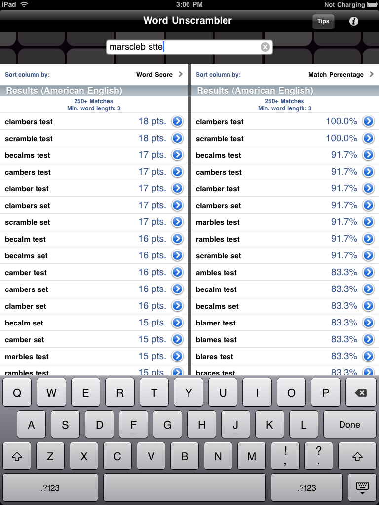 Word unscrambler ios products audama software for Window unscramble