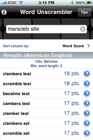 Word Unscrambler iOS Products Audama Software